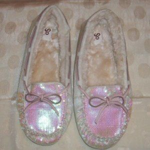 Sequin Slippers Faux Fur Lined 9-10 Leather Ties